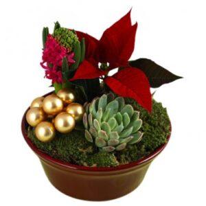 Traditionell julgrupp - fyll i önskemål om färgval och stil. Skicka julgruppen med bud från Florister i Sverige och önska God Jul!