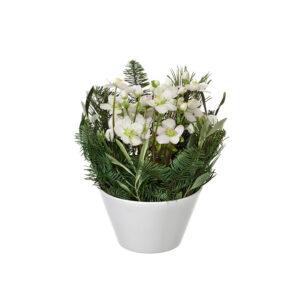 Vit julros i kruka. En liten söt julgrupp som du hittar hos Interflora. Beställ ett blomsterbud i onlinebutiken!