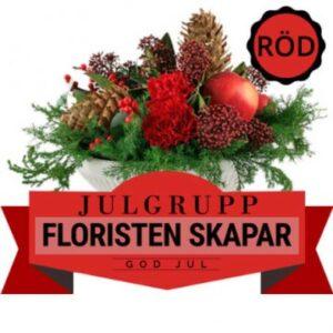 Julgrupp i rött, grönt och brunt. Floristen skapar. Ett alternativ hos Florister i Sverige.
